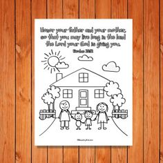 Honor thy father and thy mother coloring page exodus for for Honor your father and mother coloring page