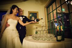 Champagne tower at the reception  http://poppyandjune.com/2015/08/13/real-wedding-grace-dan/