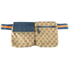 GUCCI Beige Guccissima Monogram Canvas Orange and Navy Strap Fanny Pack  Handbag e9233c218e