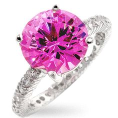 Genuine Rhodium Plated to Sterling Silver Classic Engagement Style with Pave Cubic Zirconia Band Polished into a Lustrous Silvertone Finish Divas, Ice Ring, Bold Rings, Pink Bling, Silver Rounds, Pink Sapphire, Yellow Diamonds, Diamond Are A Girls Best Friend, Solitaire Ring