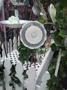 Yard art from dishes