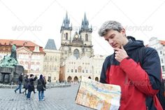 man with map over tourist attraction ...  Czech Republic, activity, adult, backpack, backpacker, discovery, examining, explorer, guide, guy, hiker, hiking, journey, leisure, lifestyle, looking, man, map, one, path, pilgrimage, plan, recreation, route, search, sights, sightseeing, tour, tourism, tourist, tourist attraction, track, travel, traveller, travelling, trekking, trip, vacation, voyage, walk