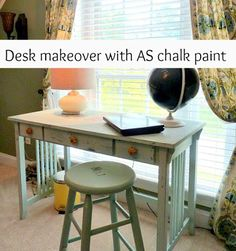 ASCP Old White and Duck Egg Blue Mix Desk Makeover.