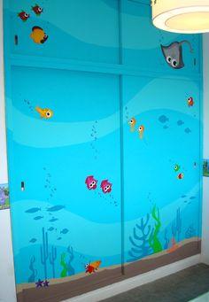 Puertas del placard (armario) - Habitación Infantil - (las ilustraciones no son mías, hago un collage con imagenes que me gustan y las pinto)