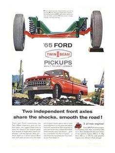 Vintage Trucks Classic Premium Giclee Print: Ford 1965 Twin-I-Beam Pickups : - Classic Pickup Trucks, Ford Classic Cars, Chevy Classic, Vintage Trucks, Old Trucks, Vintage Auto, Tonka Trucks, Antique Trucks, Autos Ford
