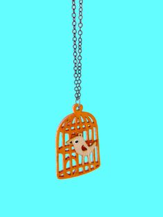 Floral Bird in a Cage Pendant Necklace by CaramelaHandmade on Etsy