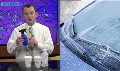 1/3 water 2/3 rubbing alcohol mixture.  How to Defrost Your Car Windows in Mere Seconds