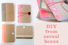 Repurposing cereal box cardboard (chipboard would work as well)---Crème de la Craft --  http://www.cremedelacraft.com/2012/06/diy-mini-notebook-from-cereal-box.html