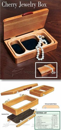Build Jewelry Box - Woodworking Plans and Projects - Woodwork, Woodworking, Woodworking Plans, Woodworking Projects Small Woodworking Projects, Easy Wood Projects, Woodworking Box, Project Ideas, Woodworking Classes, Woodworking Workshop, Woodworking Furniture, Woodworking School, Woodworking Machinery