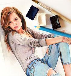 Josephine Skriver fashion illustration
