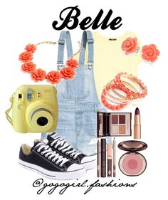 """""""Belle"""" by disney-fashion-12 ❤ liked on Polyvore featuring MANGO, H&M, Converse, Bling Jewelry, Charlotte Tilbury, J.Crew and Ruby Rocks"""