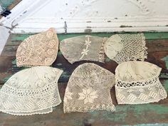 Antique Lot 6 Lace Crochet Baby bonnets Hats Victorian All perfect by…