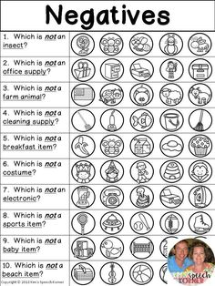 Language Activities Categories / Associations / Negatives - Print and Go worksheets - Kim's Speech Korner - # Preschool Speech Therapy, Speech Language Pathology, Speech And Language, Articulation Activities, Speech Therapy Activities, Language Activities, Receptive Language, Apps, Fun Learning
