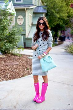 Gorgeous polka dots grey sweater with stripes cute skirt and pink leather long boots and sky blue leather hand bag