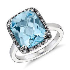 Robert Leser Blue Topaz and Diamond Halo Ring in 14k White Gold (12x10mm)