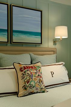 This headboard is a classic, so is the color scheme in this coastal style bedroom. Love the monogrammed pillows. House of Turquoise: Regan Baker Design