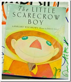 """We talked about character/setting/problem/solution and then I had the kids write about each story element on a large piece of construction paper. When they were finished writing, they turned their paper over and turned it into """"The Little Scarecrow Boy""""!!!! Too stinkin' cute!"""