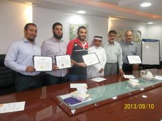 Engineers who completed and thereby awarded the Value Engineering Certificates for Associate Value Specialist on 10th September 2013. From left:  Engr. Mohammad Ali, Engr. Ahmed Al-Batesh, Engr. Mohammad Said, CEO Engr. Saud Al-Ajlan , Engr. Mohammad Amin, VE Trainor & Specialist, and Engr. Mohsen Fathy
