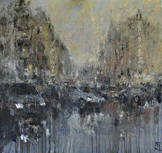 Early Evening Rain. Oil on canvas. 122x119cm