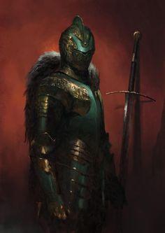 Art featuring medieval knights and their fantasy/sci-fi counterparts. Fantasy Warrior, Fantasy Male, High Fantasy, Dark Fantasy Art, Fantasy Rpg, Medieval Fantasy, Fantasy Concept Art, Fantasy Character Design, Fantasy Artwork