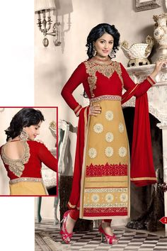 The suit comes along with matching santoon bottom and najneen dupatta. The bust size of kameez can be custom tailored upto 42 inches.