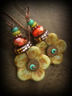 Flower, Glass, Krobo,  African Beads, Czech Glass,Turquoise, Summer, Colorful, Beaded Earrings by YuccaBloom on Etsy