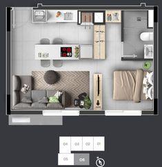 Studio Apartment Floor Plans, Studio Floor Plans, Studio Apartment Layout, Small Apartment Interior, Small Apartment Design, Studio Apartment Decorating, Apartment Plans, House Floor Plans, Studio Layout