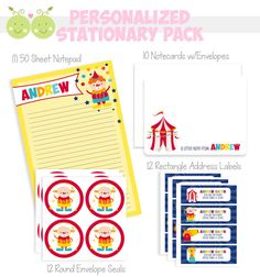 Big Top Circus Stationary Set  Kids by SweetPeaPetiteShop on Etsy