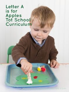 A is for Apple Tot School Curriculum - full curriculum available that teaches all the letters of the alphabet plus fun themes. Great for homeschooling your toddler.