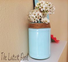 paint the inside of empty food jars, turn into Spring decor!