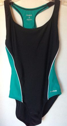 6a3a25850ef Reebok Women's Size 6 1 piece Racer Back Swimsuit Bathing Suit Teal Black  #Reebok #