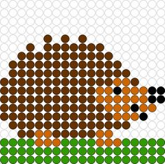 Hama or aquabeads Melty Bead Patterns, Pearler Bead Patterns, Perler Patterns, Beading Patterns, Perler Bead Designs, Perler Bead Templates, Perler Beads, Fuse Beads, Hedgehog Craft