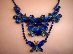 Vintage Czechoslovakia Butterfly Rhinestone Necklace Earrings Set by BlackRain4