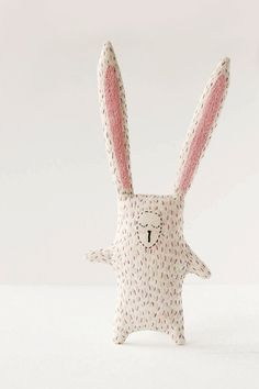 Sleepy Bunny Stuffed Toy - Sleepy Rabbit Upcycled Softie - Animal Plushie for Baby
