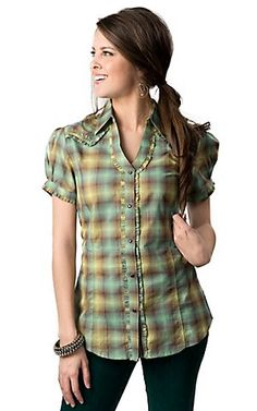 Wrangler Women's Turquoise and Green Plaid with Lurex and Ruffles Short Sleeve Western Shirt #red #cavenders