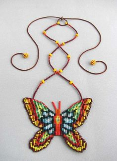 Seed Beaded Butterfly Necklace Spirit Animal by HANWImedicineArt Beaded Jewelry Patterns, Beading Patterns, Native Beadwork, Beaded Animals, Butterfly Necklace, Loom Beading, Bead Weaving, Beaded Embroidery, Beautiful Necklaces