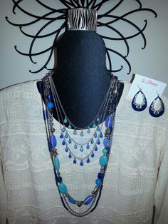 Pacific necklace, Blue Lagoon necklace, True Blue necklace, Color Pop earrings and Zebra bracelet...All Premier Designs jewelry!