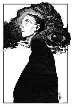 Evan Cagle. Ink portrait of Brion Gysin.