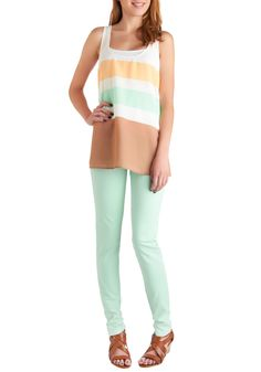 Spring in Every Season Jeans in Mint.   Very cute outfit.  I need to work up to being this bold with my style.