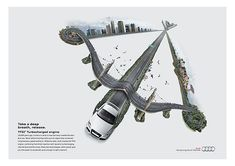 Print ads launching progressively in the year 2010 the efficient technologies of AUDI in the Middle east. Creative Poster Design, Ads Creative, Creative Posters, Creative Advertising, Car Advertising, Advertising Design, Ad Of The World, Poster Ads, Branding