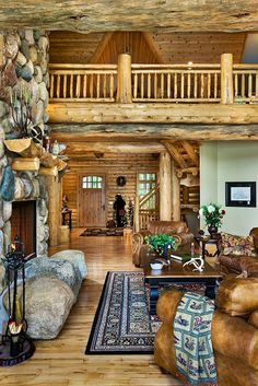 Cozy on a Grande Scale | A Lodge Style Log Retreat in Michigan Room for the Whole Family  Gorgeous Log Home