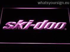 Ski Doo Snowmobiles - LED neon sign light display made of the best-quality clear plastic and glowing colorful illumination. The neon sign looks exactly the same from all angles thanks to the carving with the modern 3D laser engraving process. This LED neon sign is a great gift idea! The neon is provided with a metal chain for displaying. Available in 3 sizes in following colours: Purple, Yellow, White, Blue, Green, Red and Orange!