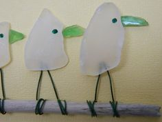 White Sea Glass Bird Family on Yellow 5 x 7. $35.00, via Etsy.