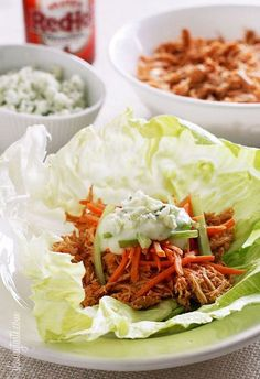 Buffalo Chicken Lettuce Wraps made for the slow cooker or Instant Pot!