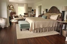 area rug under bed.for the love of a house: master bedroom Dream Bedroom, Home Bedroom, Bedroom Furniture, Bedroom Decor, Serene Bedroom, Bedroom Simple, Bedroom Colors, Bedroom Sets, Kids Bedroom