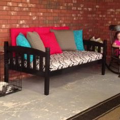 Repurposed bunk bed now an outdoor bed !