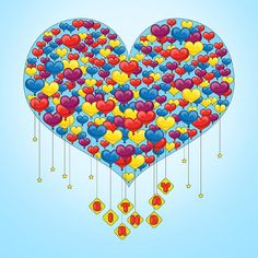 Birthday Heart Balloons  Card Design  Printable File by Ornaart, $18.00