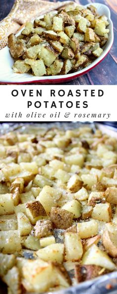 Oven Roasted Potatoes with Olive Oil & Rosemary Easy oven roasted potatoes recipe that's ready in under 30 minutes! Best Roast Potatoes, Herb Roasted Potatoes, Roasted Potato Recipes, Oven Potatoes, Easter Dinner Recipes, Delicious Dinner Recipes, Christmas Recipes, Ultimate Grilled Cheese, Steak Side Dishes
