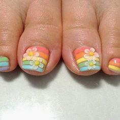 pedicure with acrylic flowers, pastel colours, nail art Flower Pedicure, Manicure Y Pedicure, Pedicure Ideas, Pedicure Designs, Nail Art Stripes, Striped Nails, Love Nails, Pretty Nails, Pretty Toes