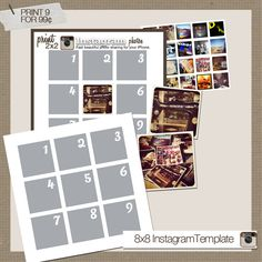 8x8 Instagram Template (9 2x2 photos) from Persnickety Prints